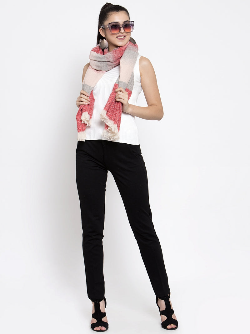Women Red Hue Printed Winter Scarf
