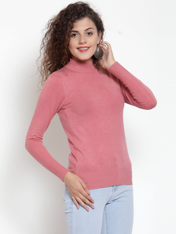 Women Dark Pink Turtle Neck Full Sleeve Skeevi Pullover