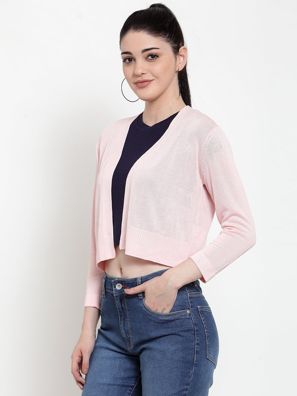 Women Pink KNIT Solid Shrug