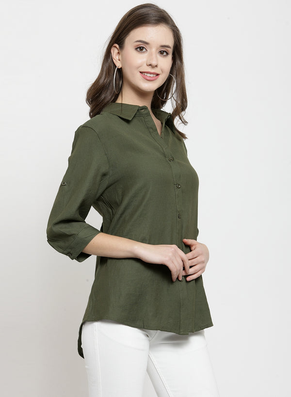 Women Olive Solid Shirt Collar Relaxed Fit Shirt