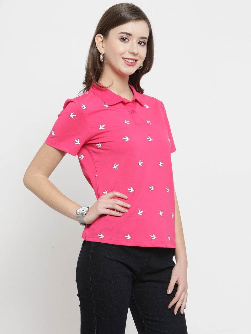 Women Pink Printed Collar Regular Fit Tops