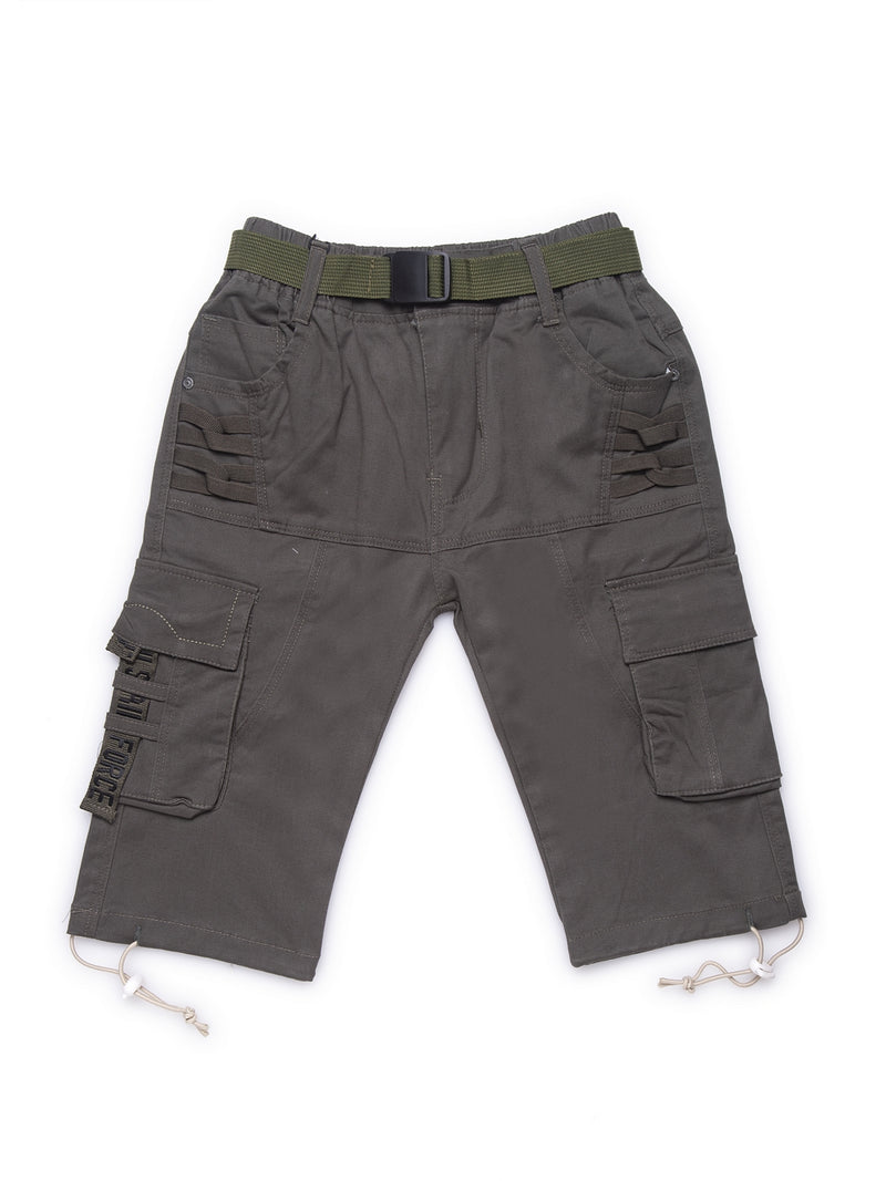 Kids Brown Cargo Capri With Relaxed Fit