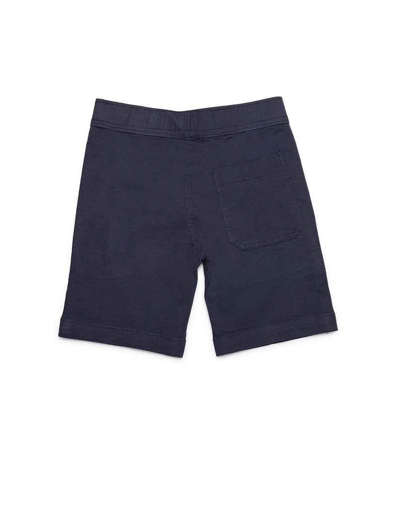 Boys Navy Blue Cotton Linen Shorts