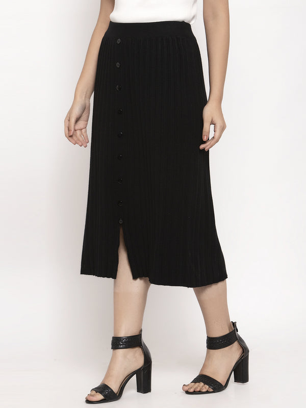 Women Black Solid Skirt