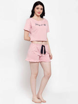 Women Printed Pink Set Of T-Shirt And Shorts