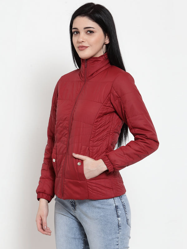 Women Maroon Sweet Solid Jacket