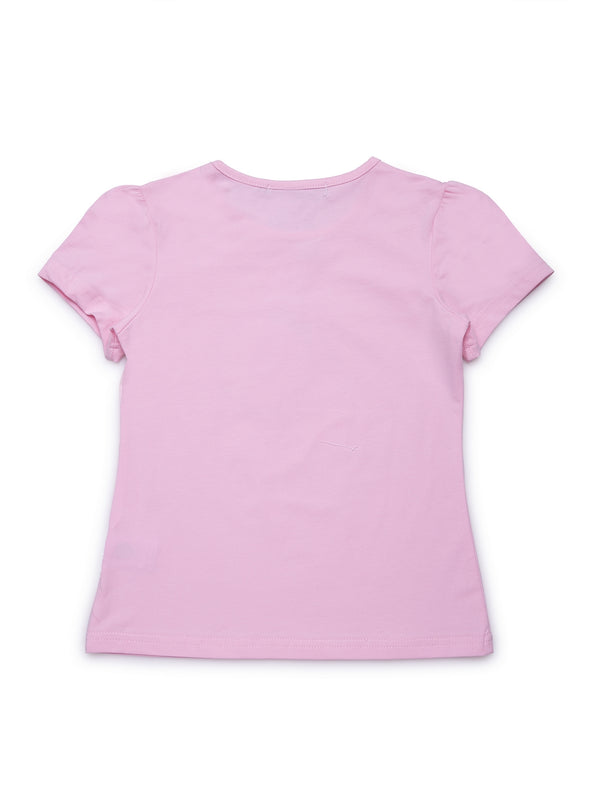 Kids Printed Pink Round Neck Top