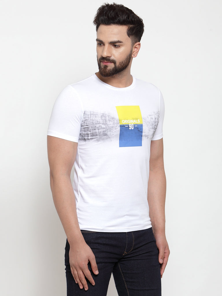 Mens White Hosiery Printed T-Shirt