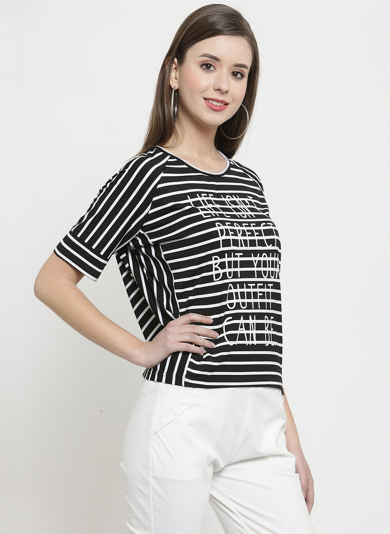 Women Black Striped Round Neck Regular Fit Tops