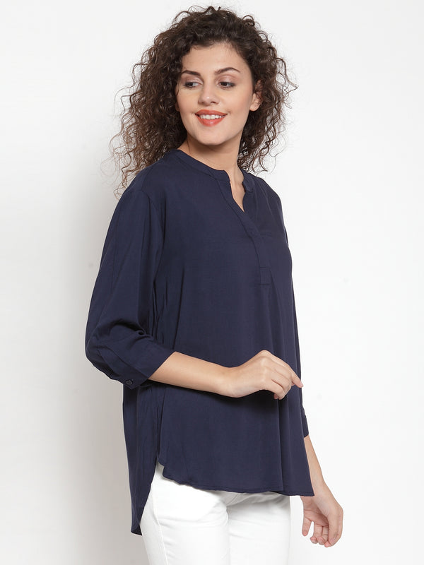 Women Solid Navy Relaxed Fit Top With Mandarin Collar
