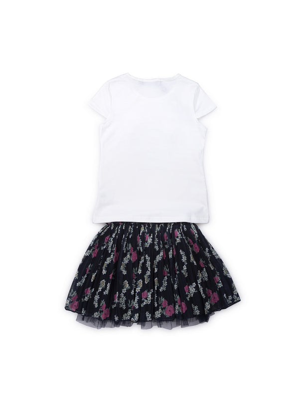 Kids White And Black Set Of Top And Skirt