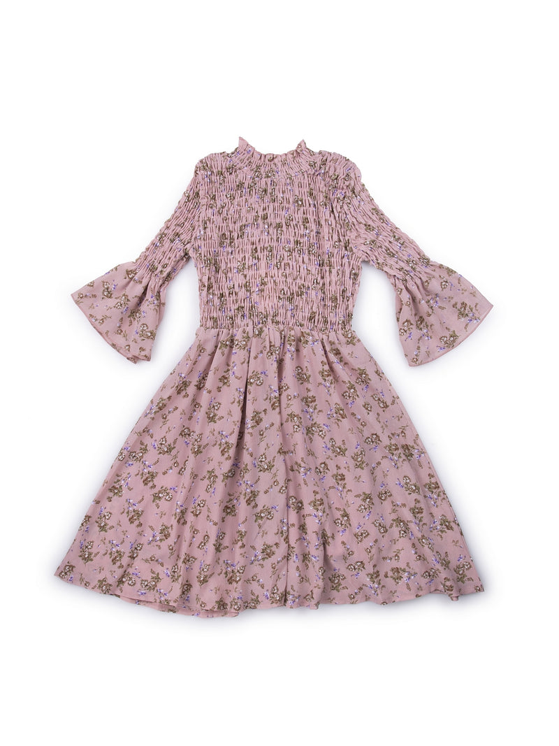 Kids Printed Pink Round Neck Dress With Smocking