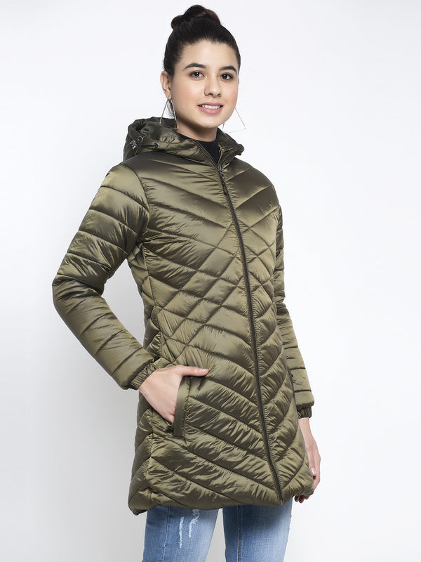 Women Olive Hooded Jacket