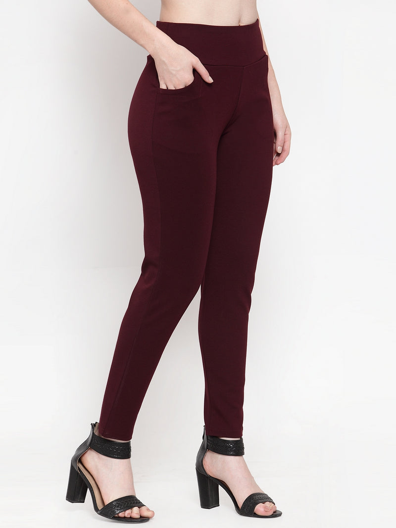 Women Wine Polyester Solid Jeggings