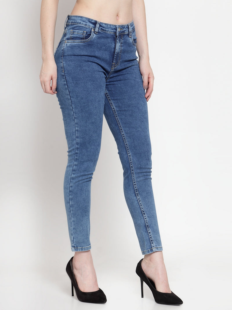 Women Blue Denim Straight Fitted Jeans