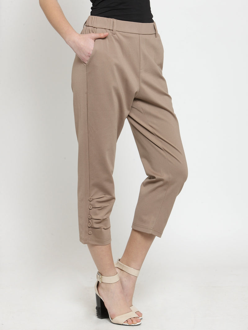 Women Tapered Fitted Solid Khaki Capri