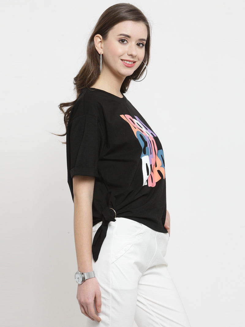 Women Black Printed Knot Round Neck Tops