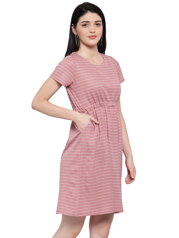 Women Pink Cotton Striped Short Nighty