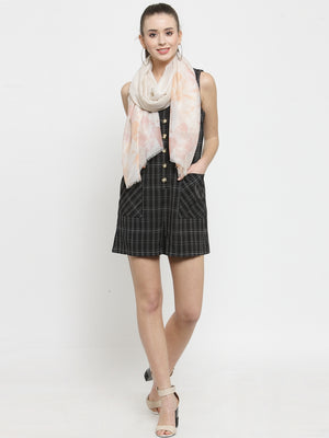 Women Pink Checked  Regular Fit Stole