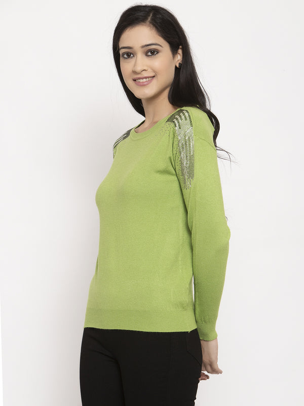 Women Green Round Neck Solid Pullover