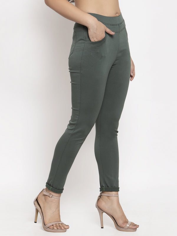 Women Green Solid Jegging
