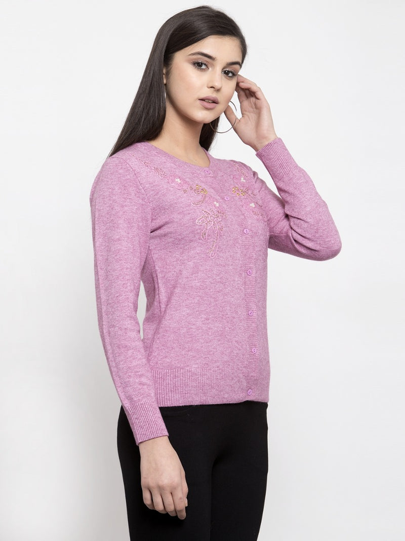 Women Solid Purple Round Neck Cardigan