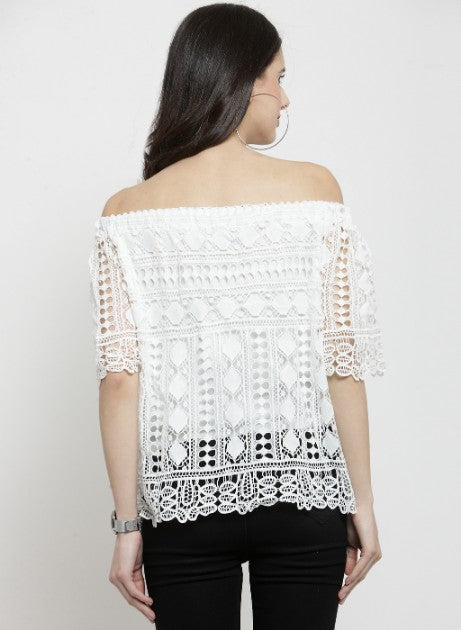 Women Off-White Top With Crochet Layer