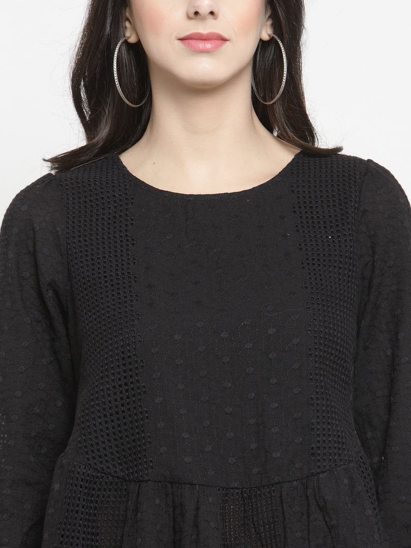 Women Black Fit And Flare Textured Top