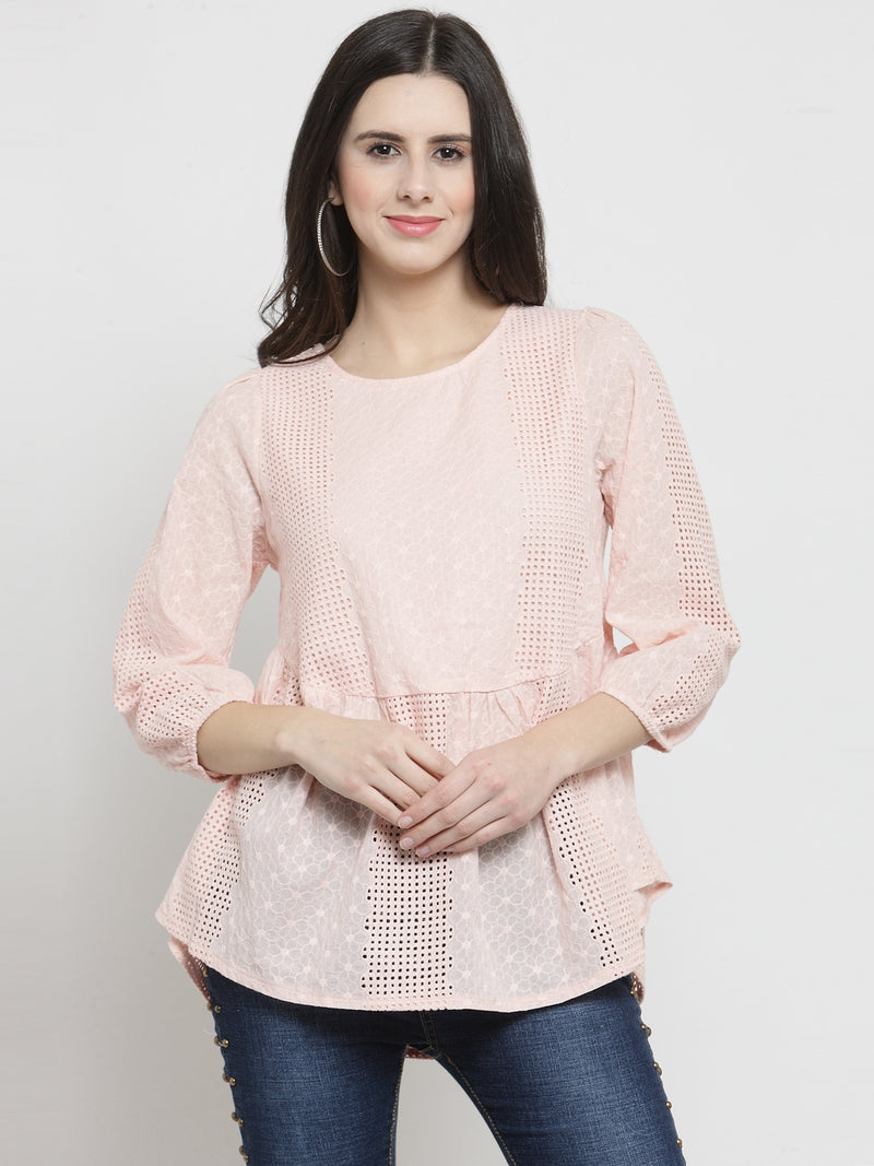 Women Pink Fit And Flare Textured Top