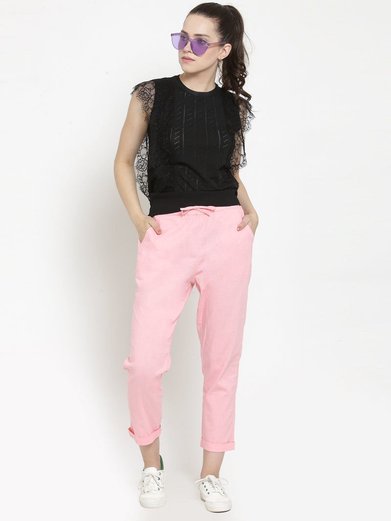 Women Solid Pink Comfort Fit Lower
