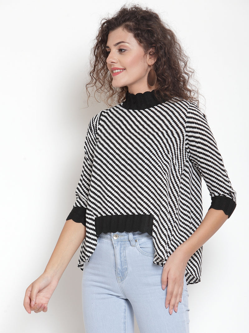 Women Black Striped Top With Knitted Detailing