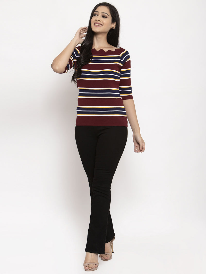 Women Striped Maroon Half Sleeves Top