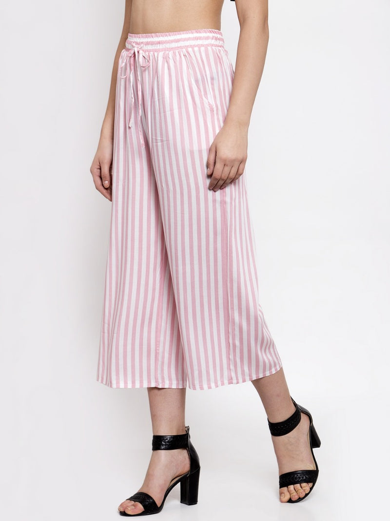 Women Pink Striped Lower