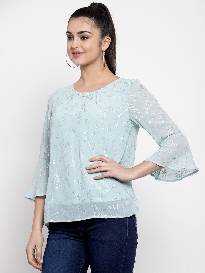 Women Blue Top With Foil Printing