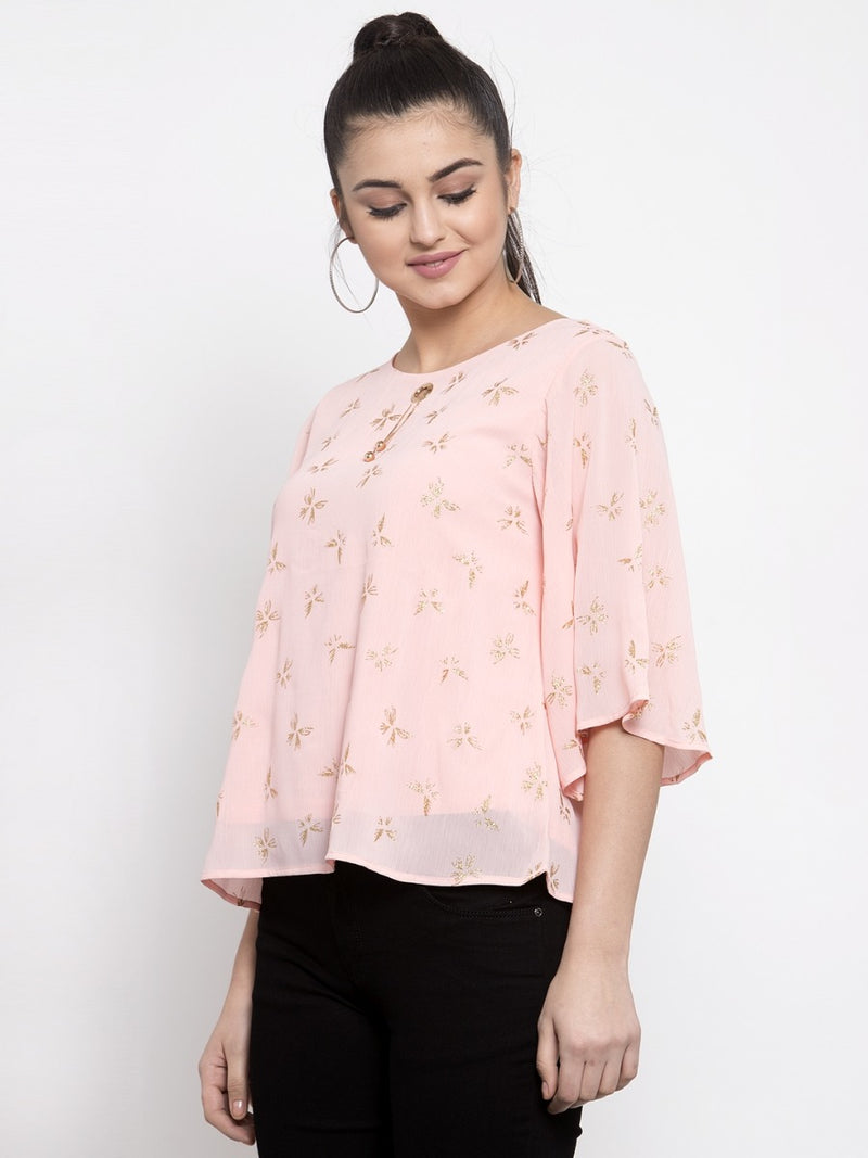 Women Pink Foil Printed Top