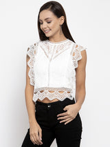 Women Solid White Round Neck Top