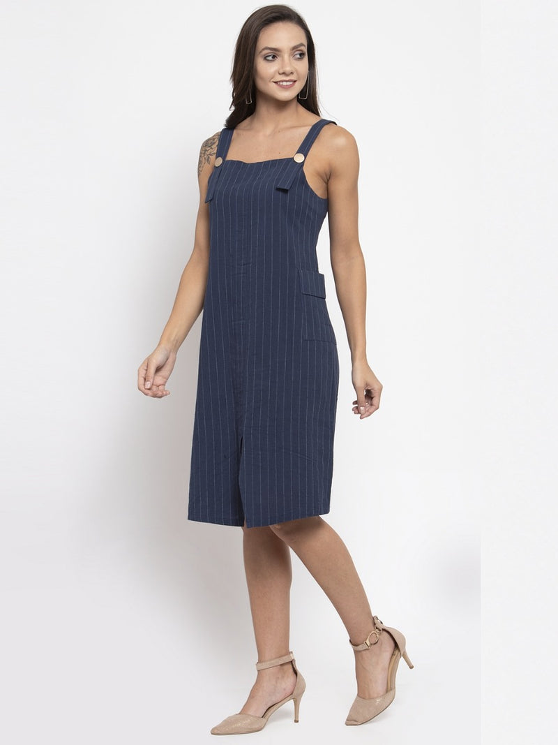 Women Striped Navy Blue Pinafore Dress
