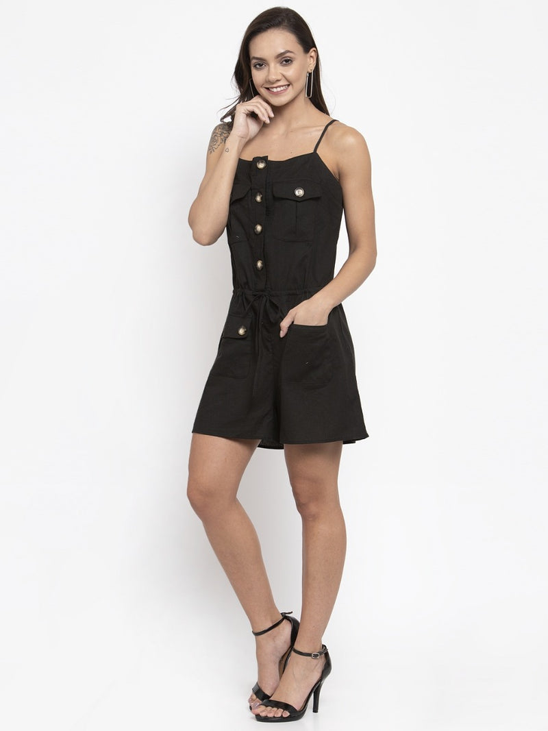 Women Black Playsuit With Pockets