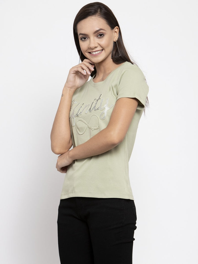 Women Printed Mint Green T-Shirt