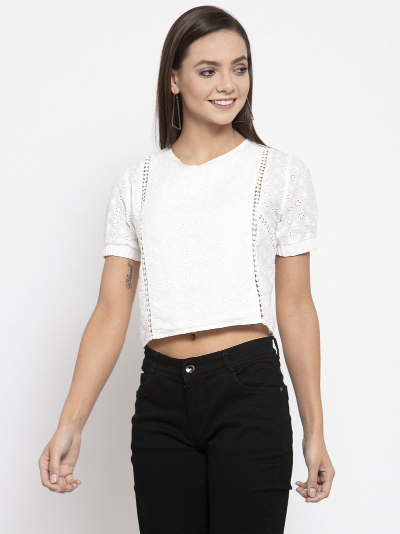 Women Solid White Crochet Top With Puff Sleeves