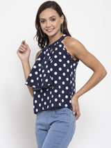 Women Polka Dots Navy Blue Round Neck Top