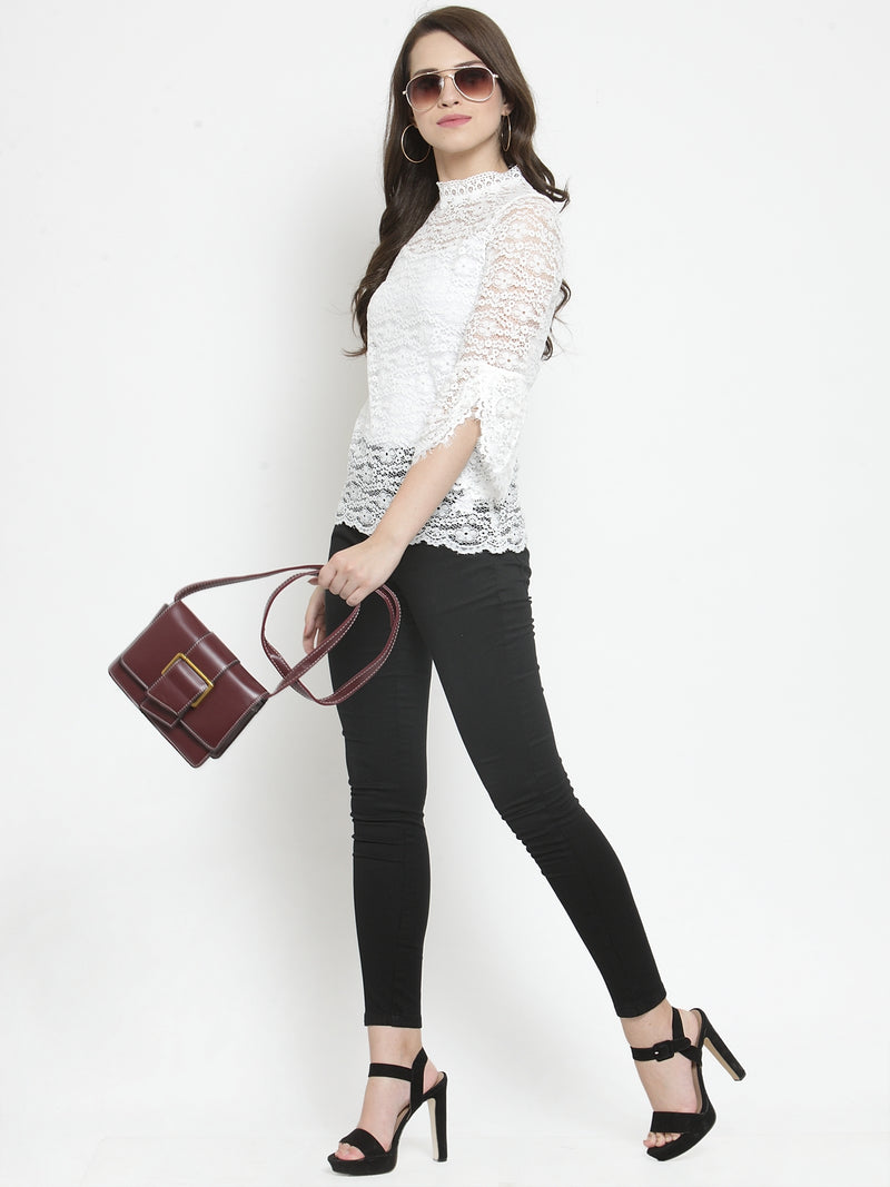 Women White Solid Lace Round Neck Regular Fit Tops