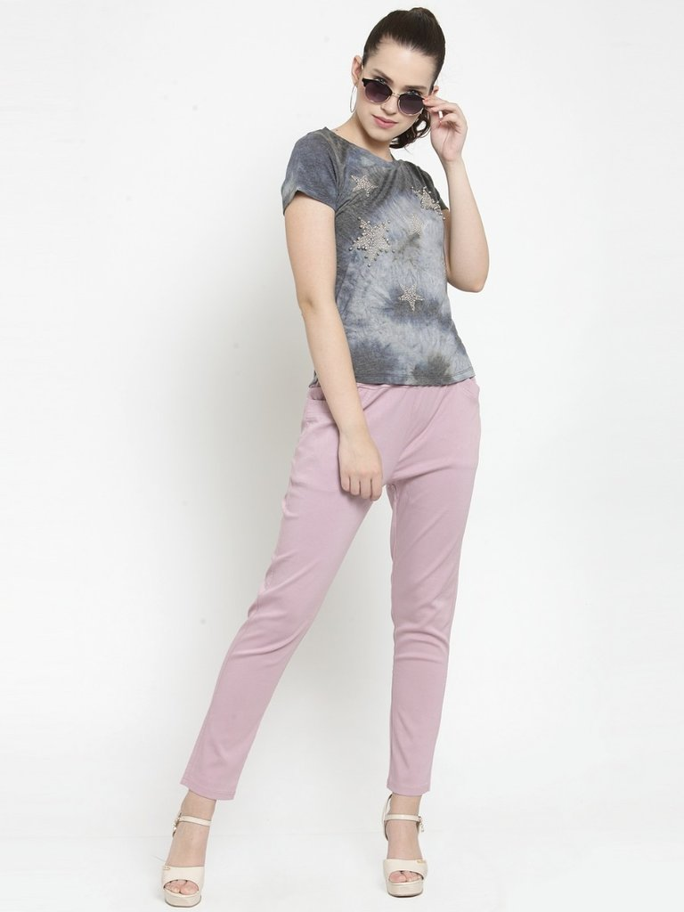 Plain Grey and Onion Combo of 2 Jeggings