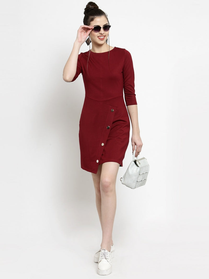 Women Maroon Round Neck Shift Dress