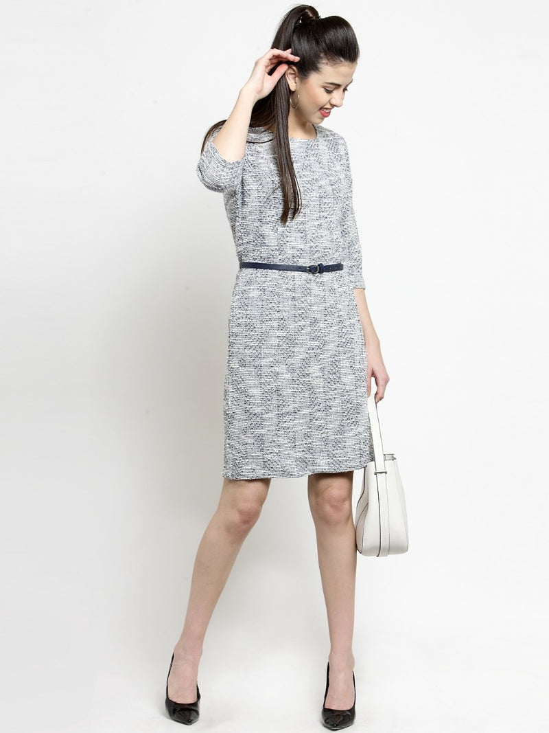 Women Grey Round Neck Slim Fit Dress
