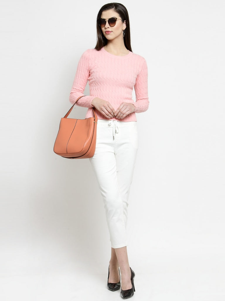 Women Solid White Cotton Lower