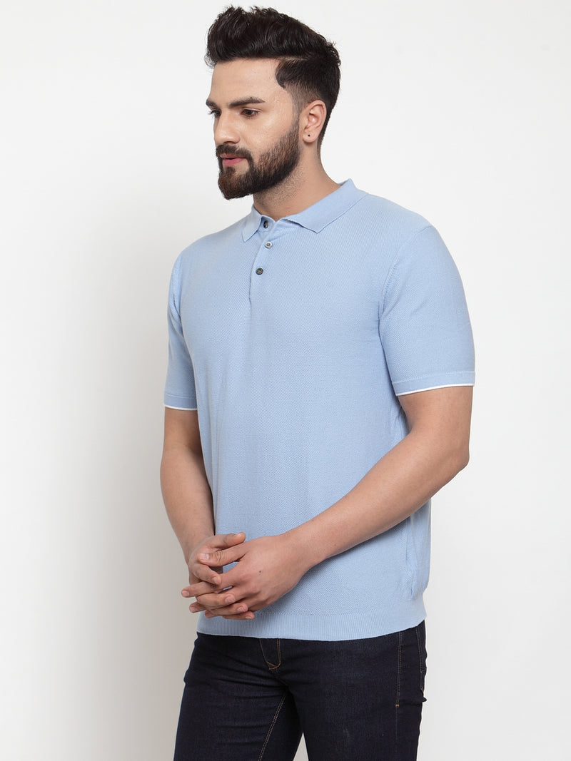 Mens Grey Collar Regular Fit T-Shirt