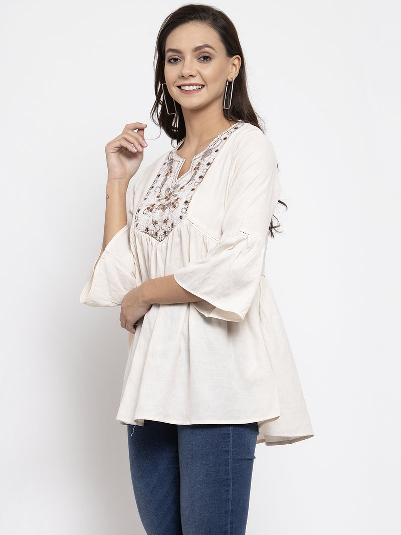 Women Beige Embroidered Top With Crochet Details