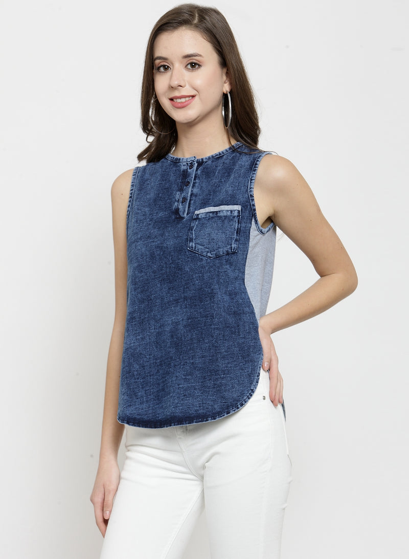 Women Solid Blue Round Neck Top