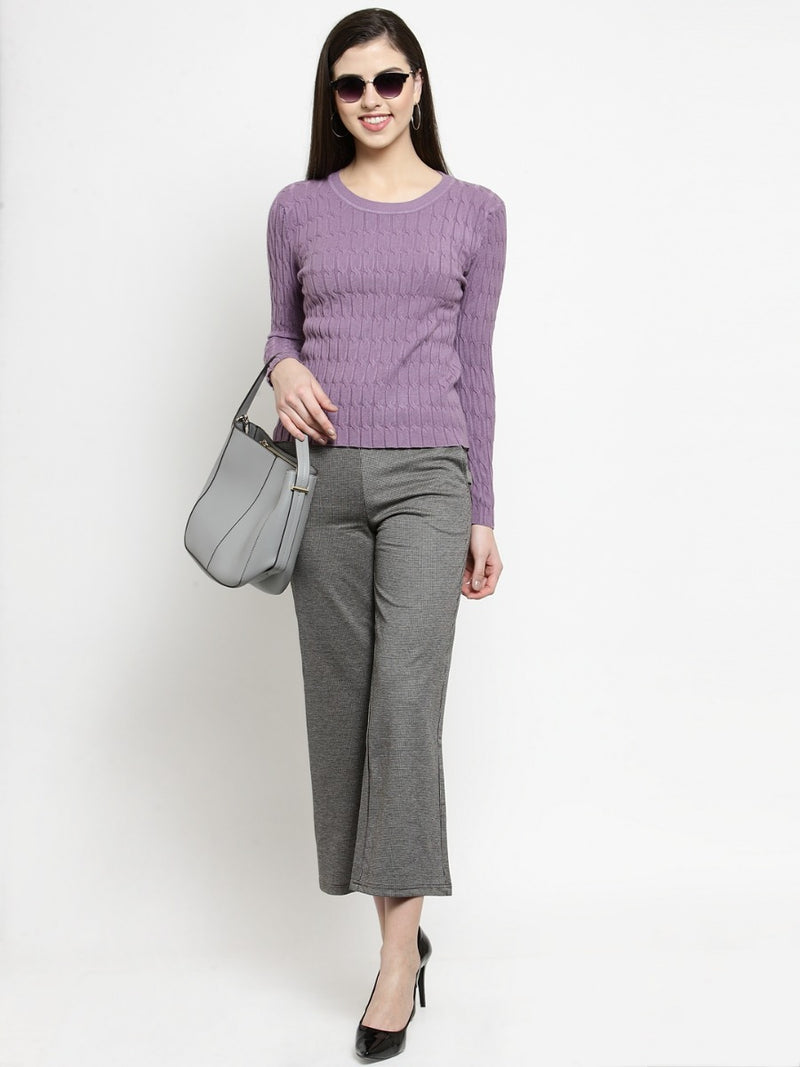 Women Self Design Grey Flared Trousers